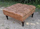 30″ SQUARE Distressed Vegan Leather, Tufted Coffee Table Ottoman For Sale