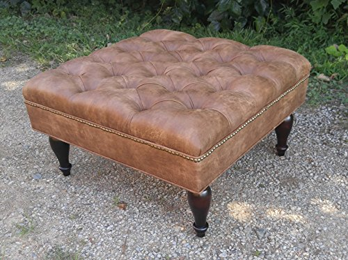 "30"" SQUARE Distressed Vegan Leather, Tufted Coffee Table Ottoman"