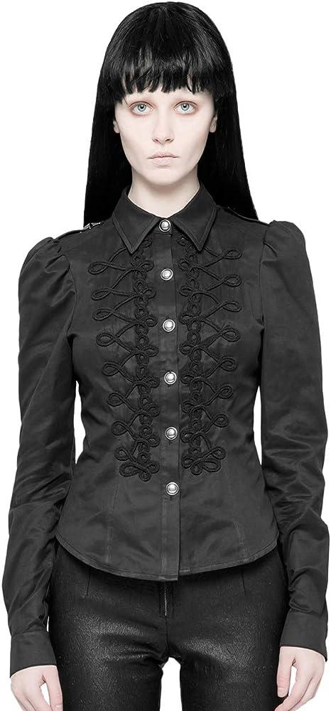 Punk Rave - Camisa de manga larga para mujer, diseño gótico militar, color negro: Amazon.es: Ropa y accesorios