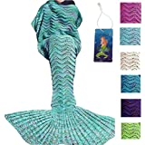 DDbest Mermaid Tail Blanket For Kids Teens Adult Handmade Wave Mermaid Blankets Crochet Knitting Blanket Seasons...