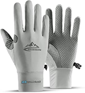 Seektop UV Protection Fishing Gloves Cooling UPF50+ Sun Gloves Men Women for Running, Hiking, Paddling, Driving,Rowing