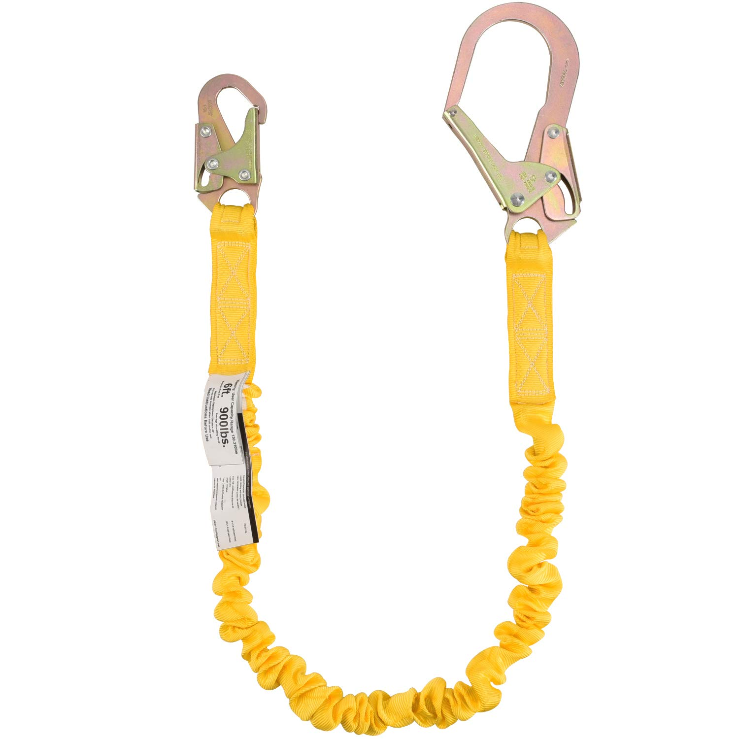 WELKFORDER Single Leg 6-Foot Fall Protection Internal Shock Absorbing Stretchable Safety Lanyard with Snap & Rebar Hook Connectors ANSI Complaint by WELKFORDER
