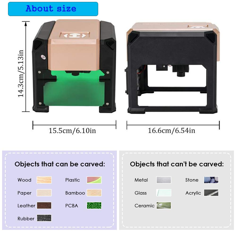 Laser Engraver, MYSWEETY 3000MW Mini DIY Laser Engraving Machine, Desktop Laser Engraver Printer, CNC Laser Carving Machine for Wood, Plastic, Bamboo, Rubber, Leather(Working Area: 8x8cm) by MYSWEETY (Image #5)