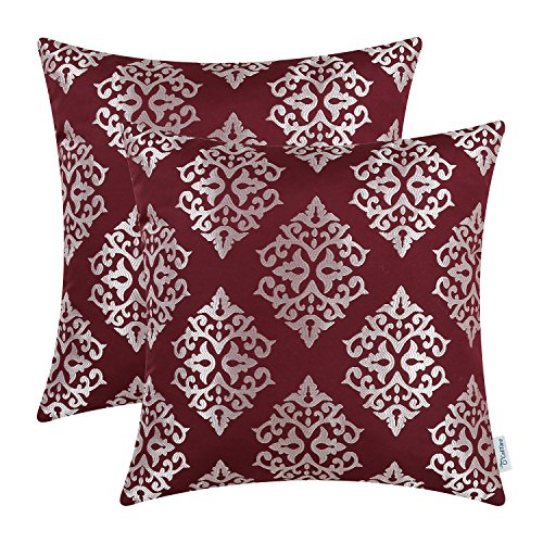 CaliTime Pack of 2 Soft Throw Pillow Covers Cases for Couch Sofa Home Decor, Vintage Damask Floral, 18 X 18 Inches, Burgundy (Diamond Sofa Accent)
