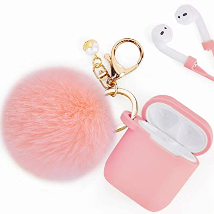new style 2e76d ca1a3 Airpods Case - Filoto Airpods Silicone Glittery Cute Case Cover with  Keychain/Strap for Apple Airpod (Peach Pink)
