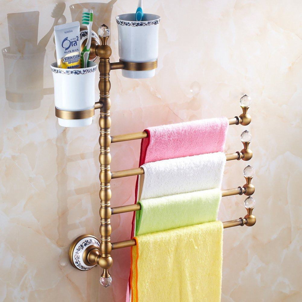 80%OFF European style Towel rack/brass Towel rack/towel rack/Antique Rotary activities Towel rack/Toothbrush glass Towel Bar-E