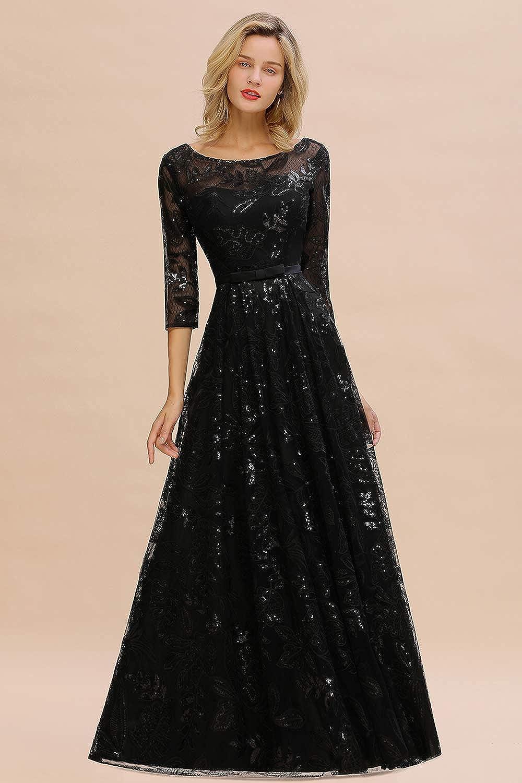 MisShow Abschlusskleider Abendkleid elegant für Hochzeit Lang 9/9 Arm  Perlenstickerei Applique Chiffon Kleider mit Langen ärmel