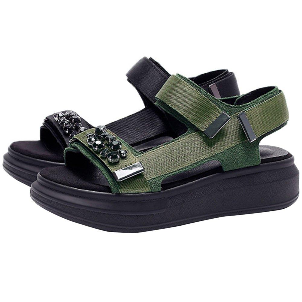 Hohe Qualitauml;t Frauen Sommer Sandalen Strass Urlaub Freizeitschuhe High Heel Sandaletten Plattform Sandalen Offene Spitze Sandalen Verbesserte Version  41EU|Green