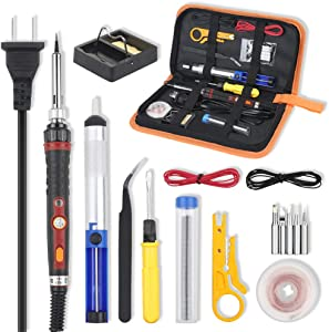 Vastar Soldering Iron Kit, 60W Adjustable Temperature Soldering-iron Gun Kit with Desoldering Pump, Soldering Station, Tweezers and Wire Stripper Cutter for repairing electronics