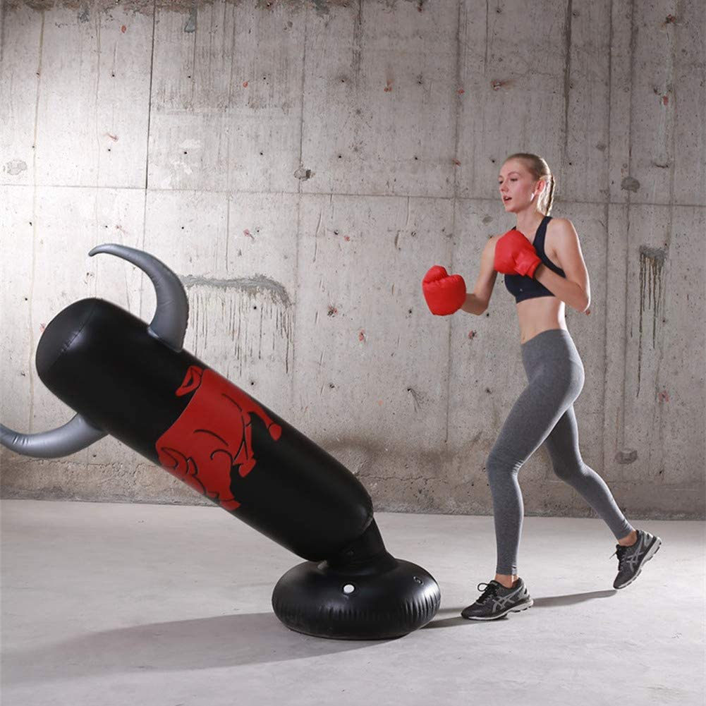 Kickboxing /& Stress Relief Inflatable Free Standing Punching Bag,Kids and Adults Kickboxing Bag 62 inches Free Standing Tumbler Column Sandbag for for Immediate Bounce-Back for Practicing Karate MMA and to Boxing Taekwondo