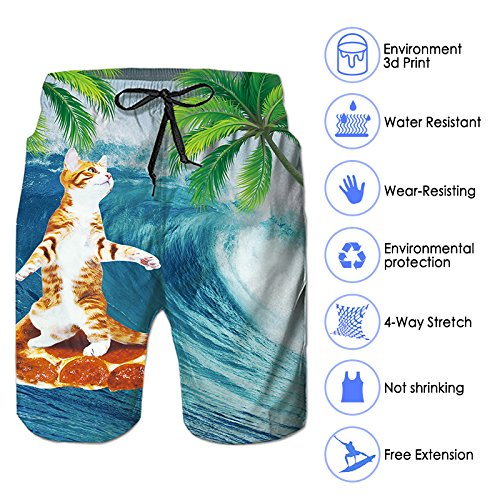 c02cfb5266294 ... RAISEVERN Swim Trunks Summer Beach Shorts Pockets Boardshorts Men Mesh  Lining ...