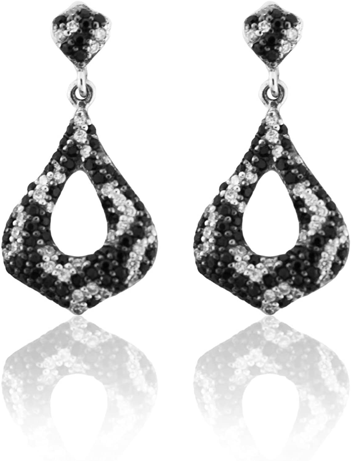 .75 Carats Sterling Silver Earrings W/Black & White Cubic Zirconia