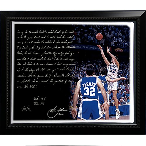 NCAA Duke Blue Devils Framed 22x26 Christian Laettner Facsimile 'The Shot' Story Stretched Canvas by Steiner Sports