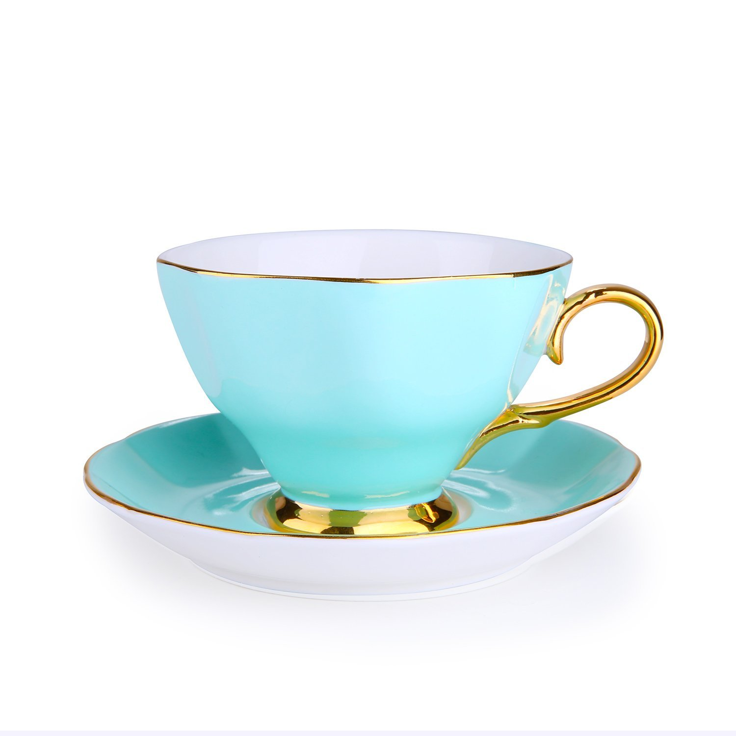 Porcelain Classic Tea/Coffee Cups and Saucers Set with Gold Plated Rims&Handles,Ceramic Espresso Latte Coffee Cup Teacup and Saucer Sets for Office Home Gift,Assorted Color,7 Ounces (GREEN)