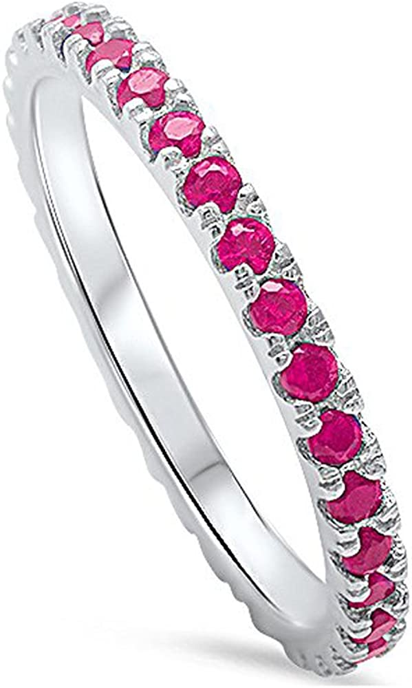 Oxford Diamond Co Sterling Silver Stackable Endless Eternity Ring Cubic Zirconia Sterling Silver Size 2-12 Four Colors Available