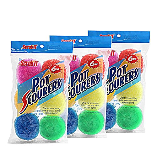18 Round Nylon Dish Scrubber Scouring Pads By Scrub-It -3 Packs Of 6 Scour Pads - Assorted Colors - Tough and Durable - Non-Scratch for Non-Stick Cookware - Mesh Scour Pad