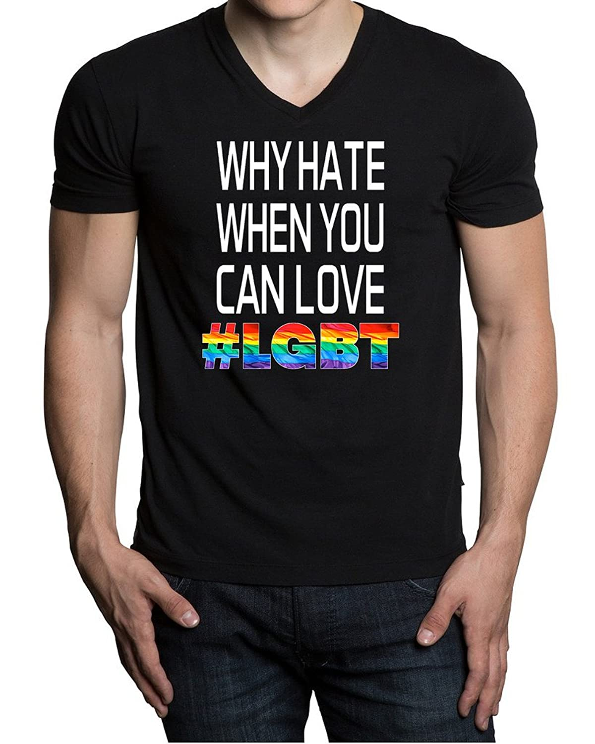 Why Hate When You Can Love LGBT Men's Black V-Neck T-Shirt V234 Black