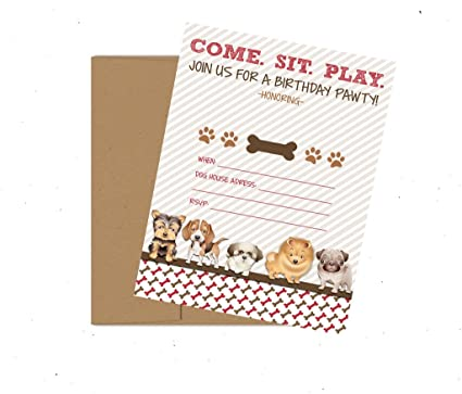 Puppy Dog Adoption Party Theme Decoration Invitation Supply Kit Invites