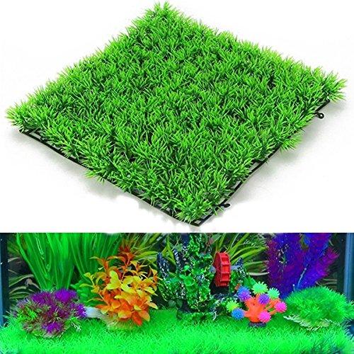 UEETEK Fish Tank Square Artificial Grass Lawn Aquarium Fake Grass Mat for Decoration - Square Fish