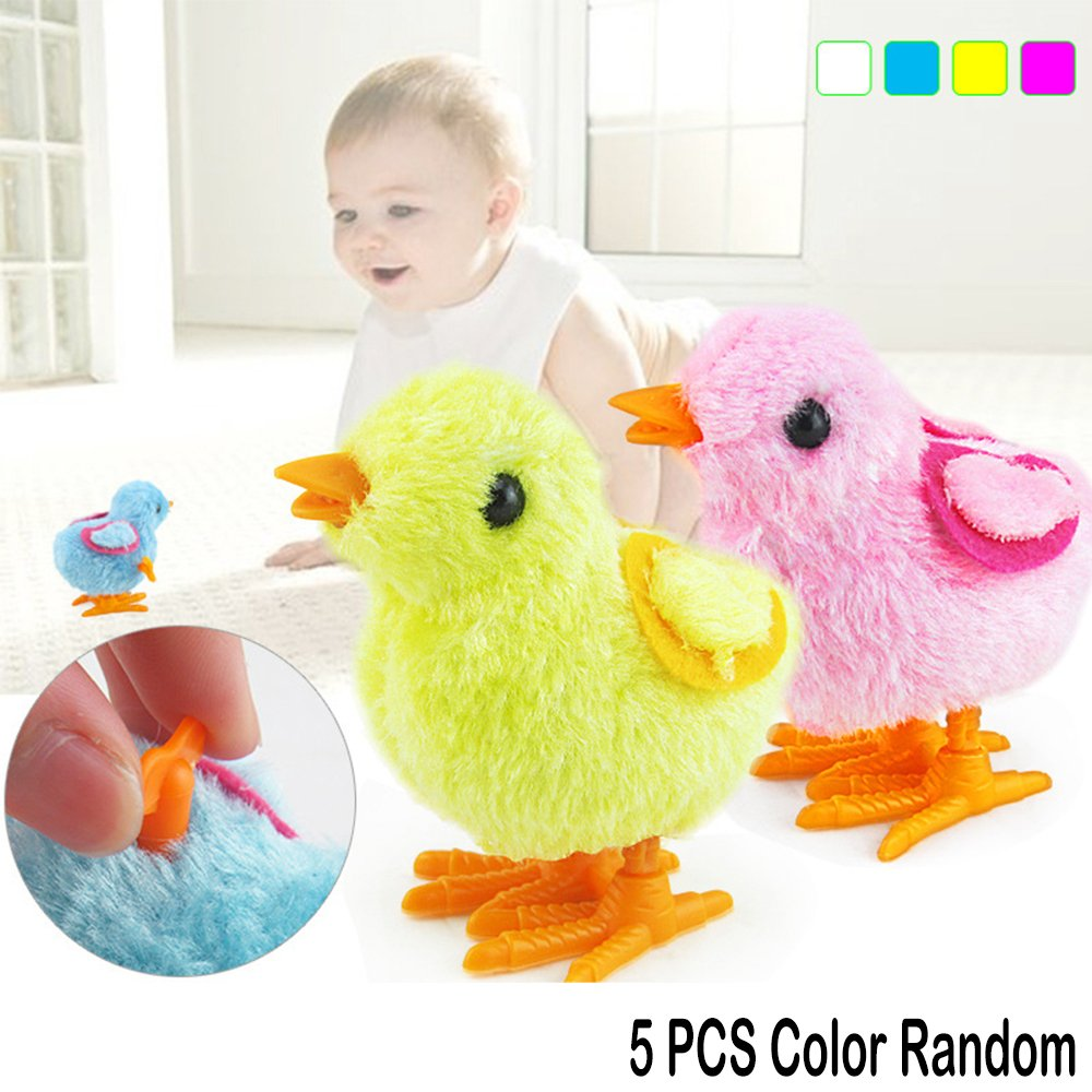 5 Pcs Fuzzy Chick Plush Stuffed Toy Hopping Wind Up Toy Clockwork Chain Chicken coffled
