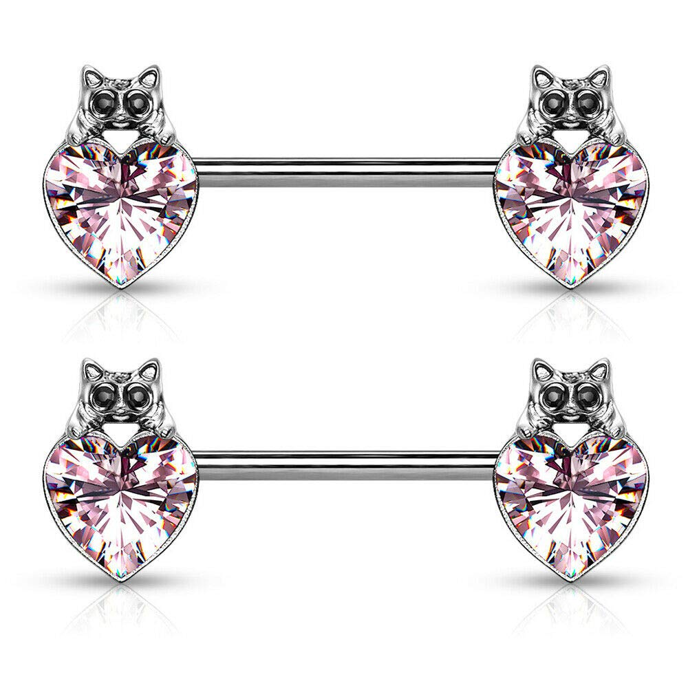 Inspiration Dezigns Cat with Black Crystal Eyes Over Heart Crystal 316L Surgical Steel Nipple Barbell Rings