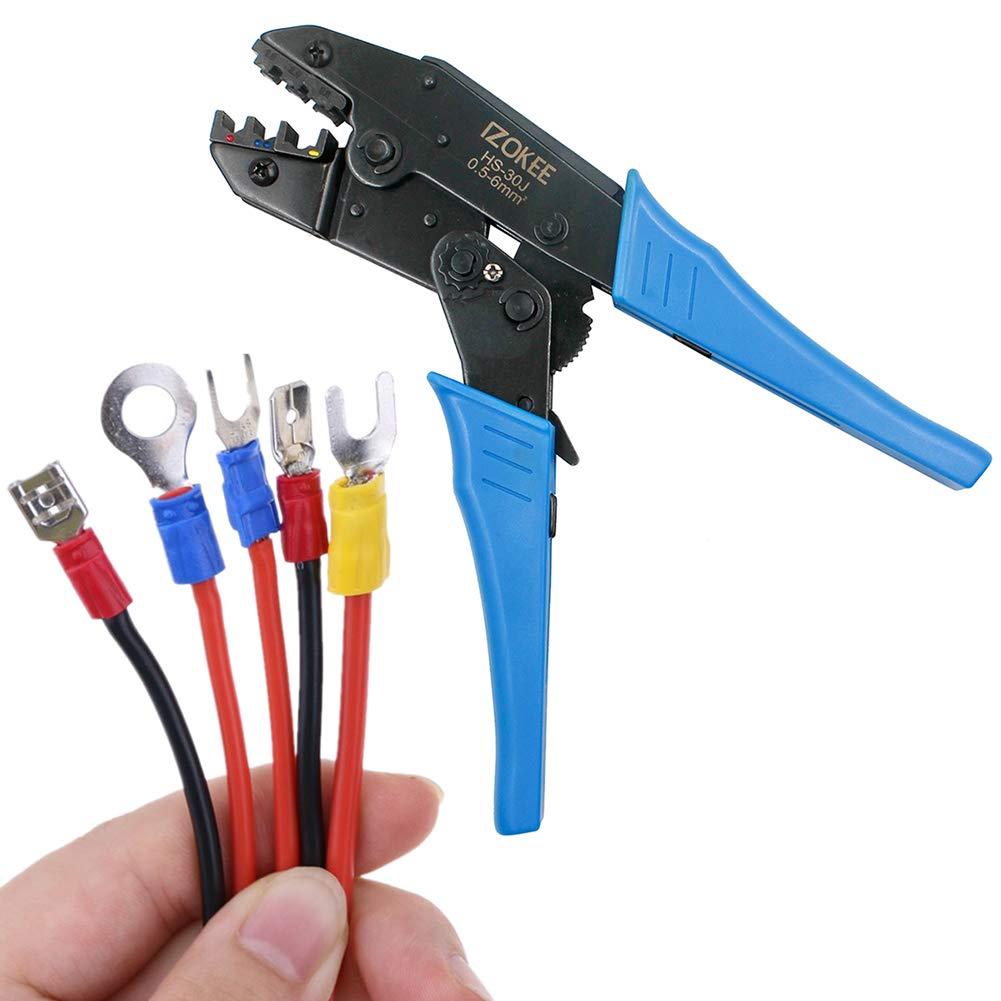 IZOKEE Pince à sertir à Cliquet 0, 5-6mm² AWG 20-10 pour Embouts et Cosses Isolées 5-6mm² AWG 20-10 pour Embouts et Cosses Isolées