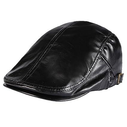 Men PU Leather Duckbill Cap Vintage Ivy Newsboy Cap Flat Cap Cabby Hat-Black c45a912780de