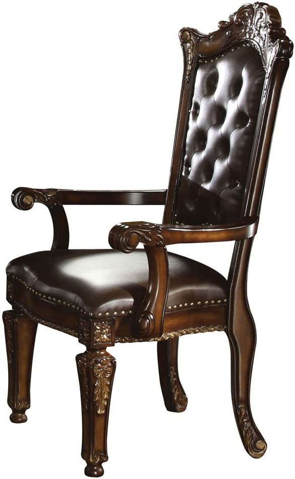 Acme 60004 Vendome Arm Chair Cherry Finish Set Of 2 Chairs Amazon Com