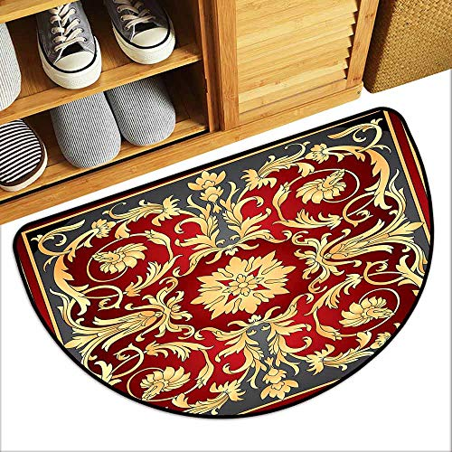 Ottoman Scalloped - DILITECK Interior Door mat Turkish Pattern Ottoman Spiral Foliage Pattern Frame Filigree Style Royal and Retro Quick and Easy to Clean W30 xL18 Ruby Mustard Black