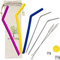 Travel Slicone Bendy Straw Set - 3 Soft Smoothies Straws + 2 Reusable Metal Straws, 10.5 inch Straws with 2 Cleaning Brush, Beverage Straws with Pouch Blue Yellow Purple Straw