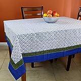 Handmade Unique 100% Cotton Floral Vine Tablecloth (72x72, Blue Green)