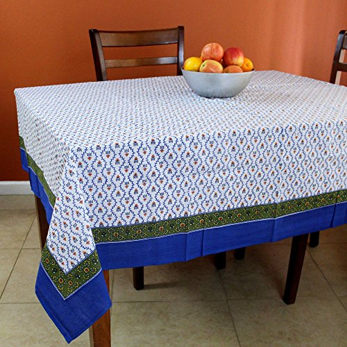 Handmade Unique 100% Cotton Floral Vine Tablecloth (72x72, Blue Green) by India Arts