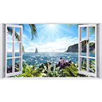 3D Effect Venster Muursticker Zonneschijn Zee Vinyl Decal Decor Muursticker Home Decor Chilren Kamer Decoratie-60x90cm_