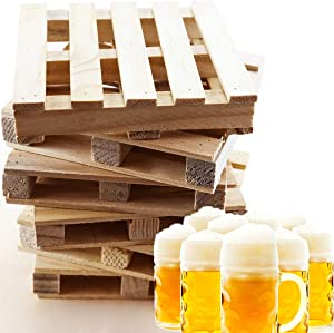 MotBach 6 Pcs 3.9 Inch Square Mini Wooden Pallet, Beverage Drink Coasters, Tabletop Protector for Bar, Home and Office