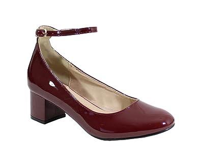 5e5b2b3526166 By Shoes - Ballerine Vernis à Talon Carré - Femme - Taille 41 - Wine ...