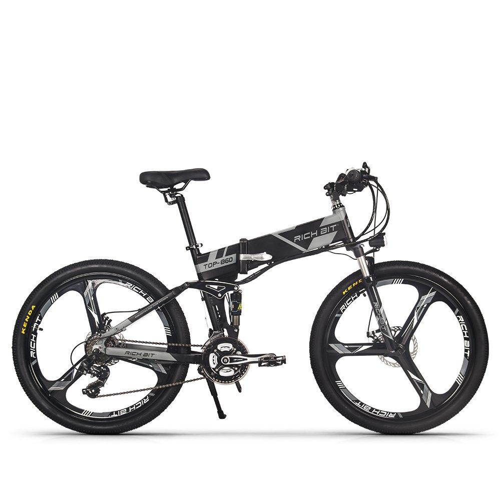 RICH BIT 860 電動アシスト自転車 26インチ 250W*12.8AH 折り畳むアルミフレーム マウンテンバイク 公道乗れと防犯登録可能 B07DX139J9 グレー12.8AHバッテリー グレー12.8AHバッテリー