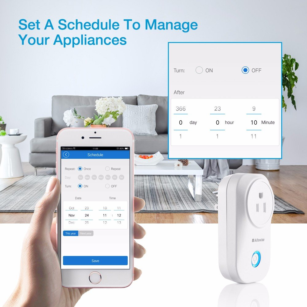 Smart Plug, Alfawise Smart Wi-Fi Plug Wireless Outlet, Smart Timing Socket Compatible with Alexa, Timing Function, Remote Control Appliances from Anywhere by Alfawise (Image #3)