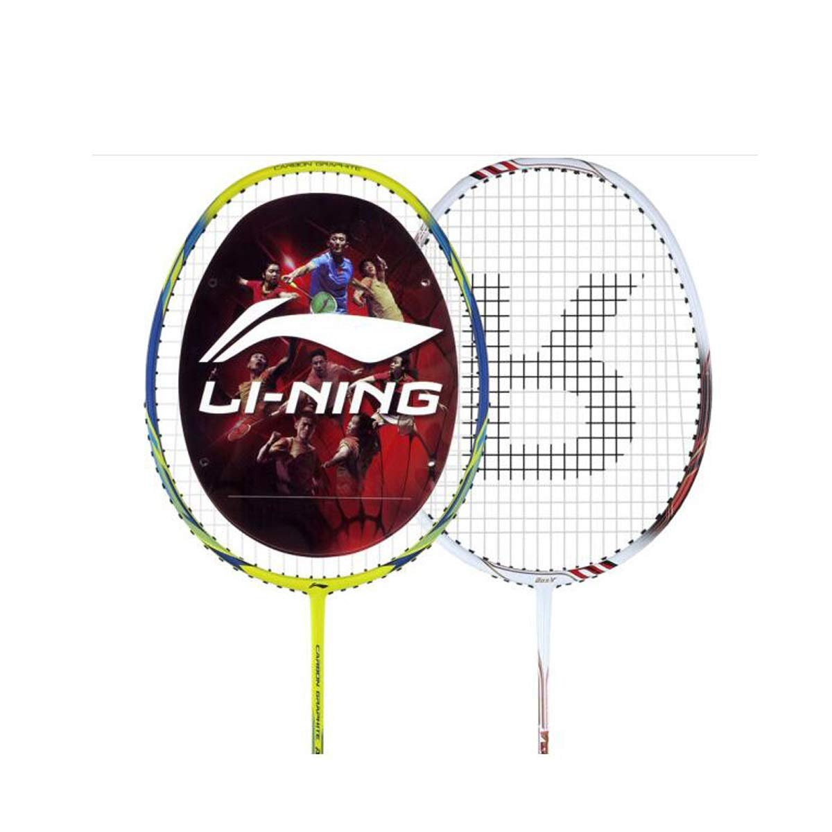 Tongboshi Full Carbon Badminton Racket, On The Beat, 2 Double Shot Set Ultra Light Beginner, Competition, Training, White, Yellow, White + Yellow (has Threaded) Badminton Racket, (Color : Yellow) by Tongboshi (Image #2)