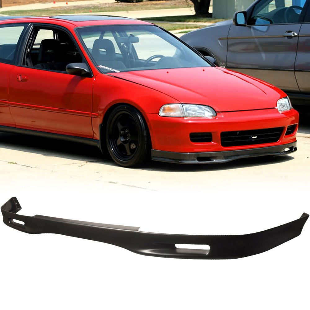 Front Bumper Lip Fits 1992-1995 Honda Civic   Spoon Style Black PU Front Lip Finisher Under Chin Spoiler Add On by IKON MOTORSPORTS   1993 1994