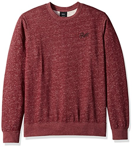 RVCA Men's Mowgli Script Embroidered Crewneck Sweatshirt, Tawny Port, Small