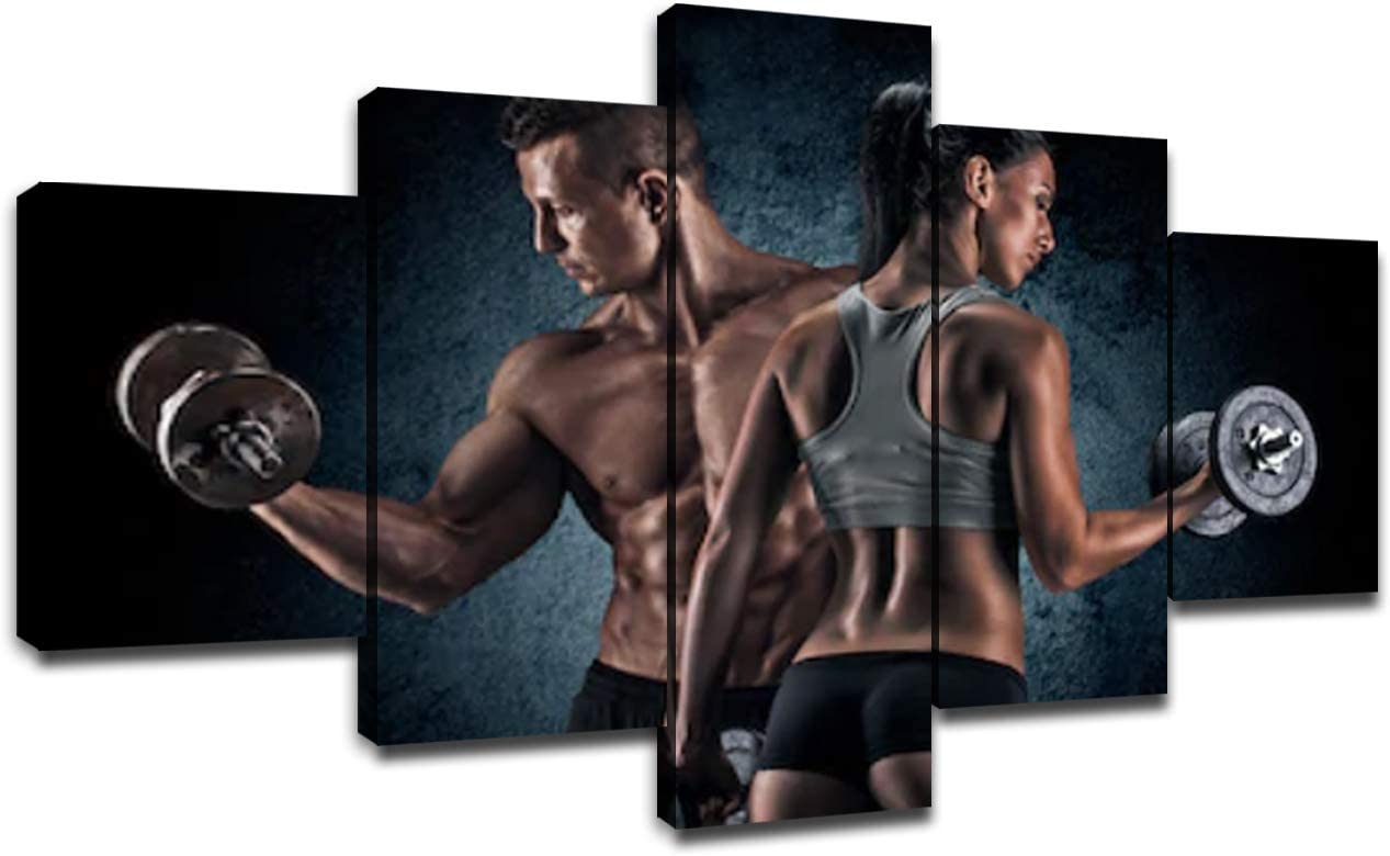Fitness Sports Painting on Canvas Wall Art Pictures Framed Wall Decor 5 Piece Decoration Bodybuilding Women Bodybuilder Poster(60''Wx32''H)