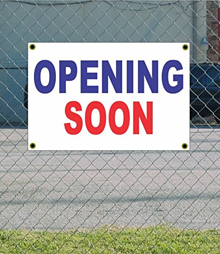 OPENING SOON 2x3 Red White & Blue Banner sign - Open Soon Banner