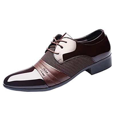 ASHION Business Schnürschuh Herren Schuhe Klassische Spitze Schuhe (45 EU, Blau)