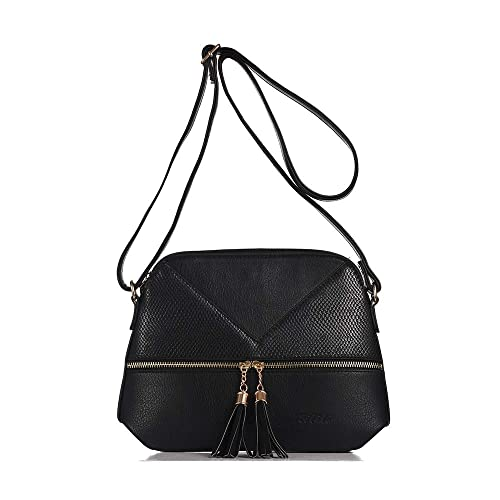Riliti Women Medium Tassel Zipper Pocket Crossbody Bag Lightweight Shoulder Bag Fashion New Design Handbags (black)
