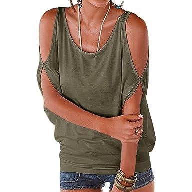 cc36e026bd Lâche Sexy T-Shirt Femme Col Rond Épaules Dénudées Manches Longues Tee Shirt  Top Unicolore