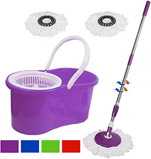 Floor Mop Microfiber Spinning Easy Magic Spin Mop W//Bucket 2 Heads Rotating 360°
