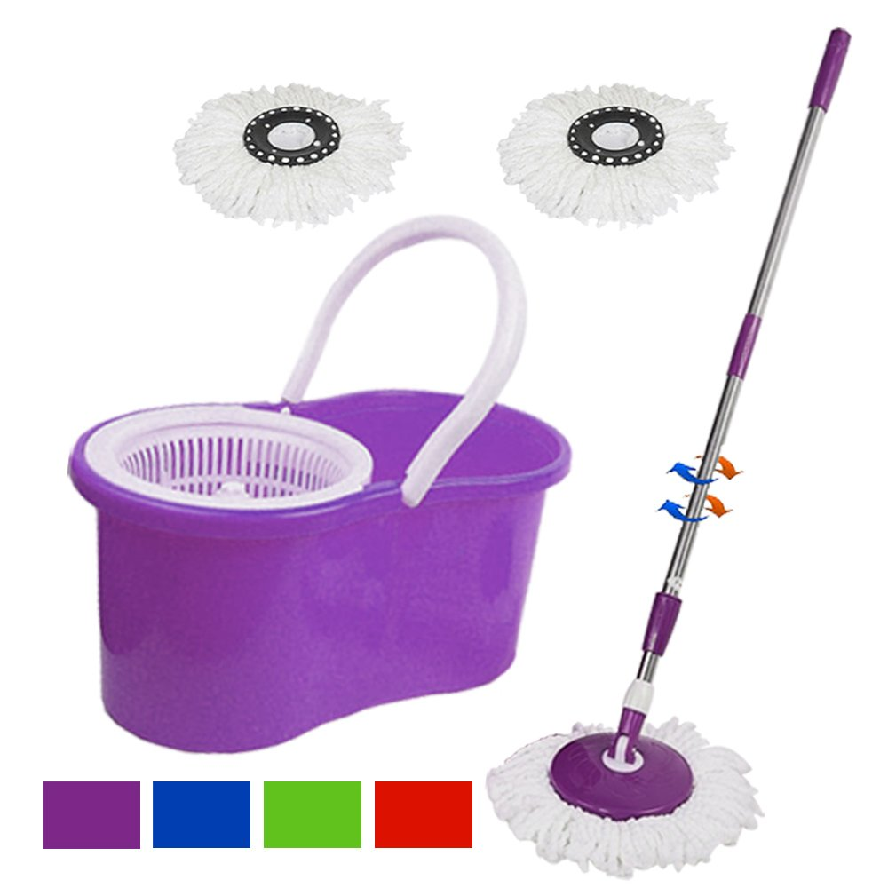 360°Rotating Head Easy Magic Floor Mop Bucket +2 Head Microfiber Spinning (Purple)