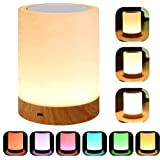 YSD Touch Lamp Bedside Table Lamp with Rechargeable Internal Battery Dimmable Warm White Light & Color Changing RGB Portable Night Light Desk Lamps for Bedrooms Living Room