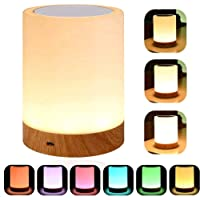 YSD Touch Lamp Bedside Table Lamp with Rechargeable Internal Battery Dimmable Warm White Light & Color Changing RGB…