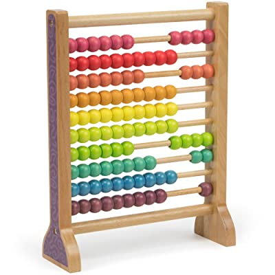 Imagination Generation Wooden Abacus Classic Counting Tool, Counting Frame Educational Toy with 100 Colorful Beads: Toys & Games